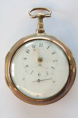 Amazing Antique Gilt Pair Case Verge Fusee Doctors Pocket Watch - 1770