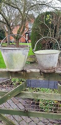 One Pair Of Vintage Galvanised Pail Buckets