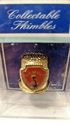 Vintage TAMPA Collectible Thimble of Pelican Gold  Tampa Never Opened