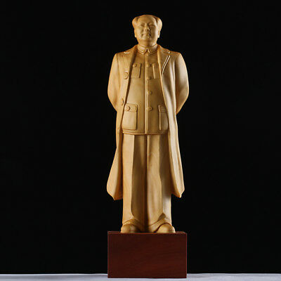"""7.9"""" Chinese Box-wood Carving Mao Zedong Outstanding Leader Mao Chairman Statue"""