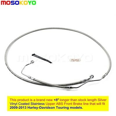 "NEW +8"" Stainless Upper Front Brake Line Kit For 2009-2013 Harley Touring w/ ABS"