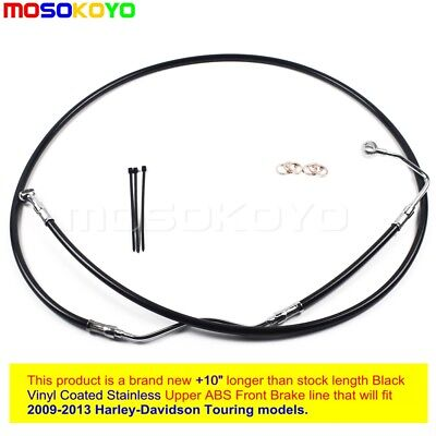 "NEW Black +10"" Stainless Upper Front Brake Line Kit For 2009-2013 Harley Touring"