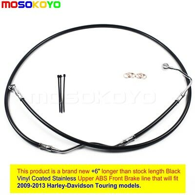 "NEW Black +6"" Stainless Upper Front Brake Line Kit For 2009-2013 Harley Touring"