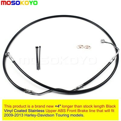 "Black +4"" Stainless Upper Brake Line Kit For 2009-2013 Harley-Davidson Touring"