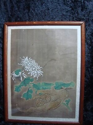 "An Antique Chinese Watercolour On Silk, ""finger Citron & Chrysanthemum"""