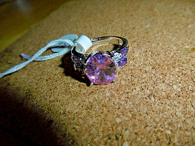 Missionary Auction Unused 925 Sterling Silver Pink Quartz & Amethyst Size Q