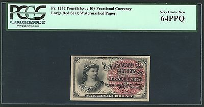 1869-75 10 Cents Fractional Currency Fr1257 Certified Pcgs Very Choice New 64Ppq