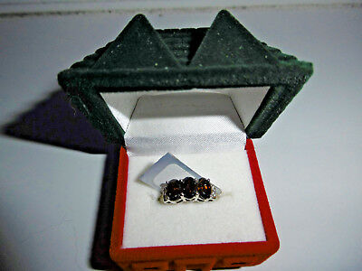 Missionary Auction Unused 925 Sterling Silver Garnet & Zircon Ring Size O