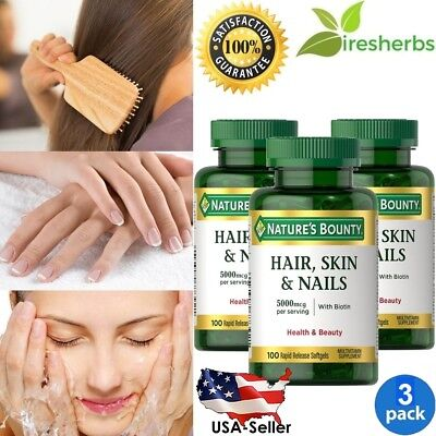 #1 BEST Hair, Skin & Nails w/Biotin 5000mcg MULTIVITAMIN SUPPLEMENT 300 Softgels