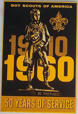 Vintage 1910-1960 Boy Scouts Of America Poster 50 Years of Service