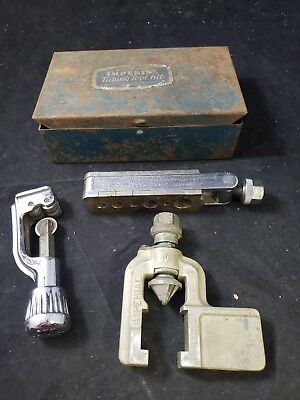 Imperial 400-F 37° Rol-Air Flaring Tools plus rare parker cutter w/ metal box F1