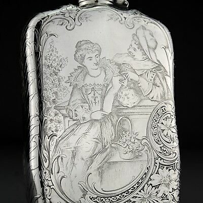 RARE Antique Acid Etched Tiffany & Co. Solid Sterling Silver Hip / Liquor Flask