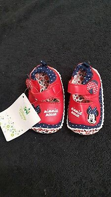 Disney Minnie Mouse Shoes Ballet Slippers Flats Baby Babies Girl Size 3-6 Months