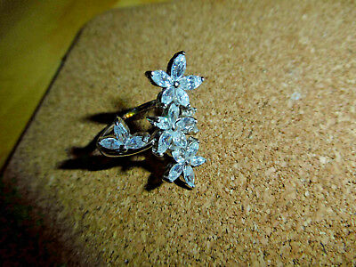 Missionary Auction Unused 925 Sterling Silver Quartz Flower Ring Size O