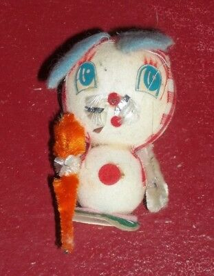 Vintage Small BUNNY RABBIT w/ Carrot Lightweight Figurine Collectible Japan Made