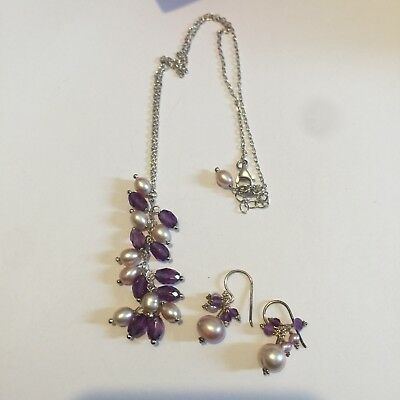 Set Of Hallmarked 925 Solid Silver Necklace And Earrings Amethyst Real Pearls