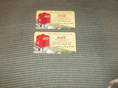Vintage New York Worlds  Fair Complimentary Coca-Cola  Tickets
