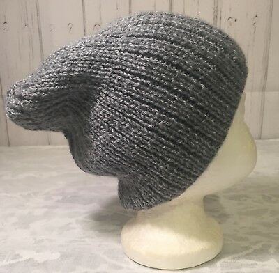 Hand knitted boys ribbed slouchy hat, grey, age 6-8 years