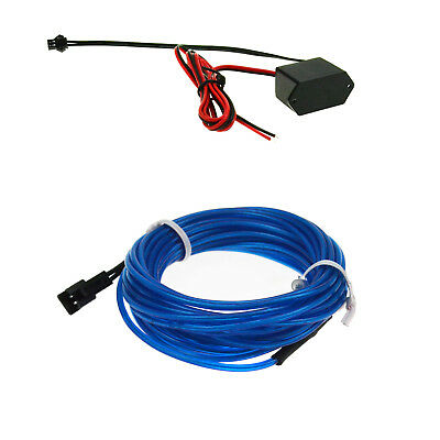 1M/3.28ft Blue EL Wire Neon LED Light Glow String Strip Rope Tube 12V Controller