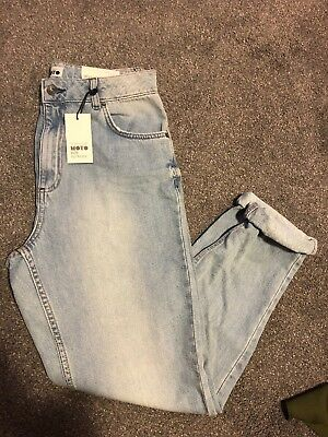 Topshop Moto Mom Jeans Light Blue Wash Turn Up W30 L32 High Waisted