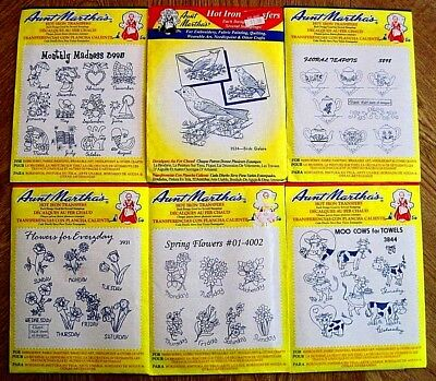 LOT 6 UNUSED~VINTAGE AUNT MARTHA'S HOT IRON TRANSFERS~Days of the Week & Months