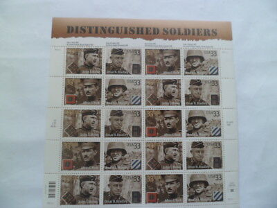 US Postage Stamps Scott #3393-3396 DISTINGUISHED SOLDIERS 33 cent Full Sheet MNH