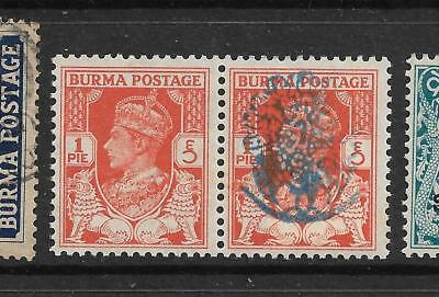 1942,burma,japanese Occupation,sgj25 Omitted Kgvi,used,india,state Peacock--Xx