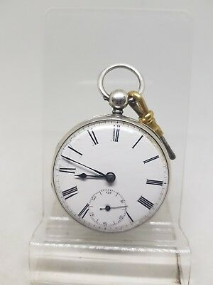 Antique solid silver fusee gents Prince Hammers pocket watch 1845 working ref319