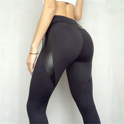 High Waist Black Leggins Push Up Sexy Hip Patchwork Leather Pants Bodybuilding