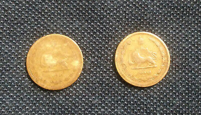 Lot of 2 Reza Shah Pahlavi Rare 10 Dinnars(1937&39)Circulated Middle East Coins