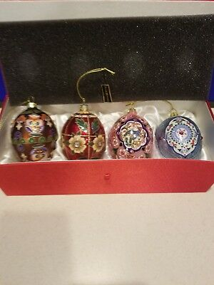 Set of 4 JOAN RIVERS Glass Christmas Ornaments 2015 Faberge Egg w/ Red Silk Case