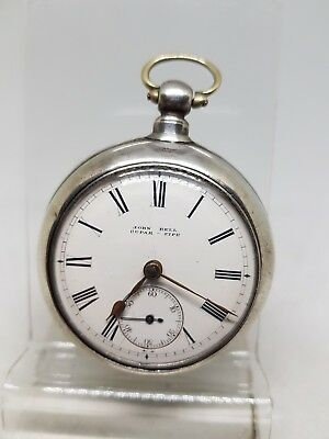 Antique silver pair cased fusee John Bell Fife pocket watch 1887 WORKING ref320