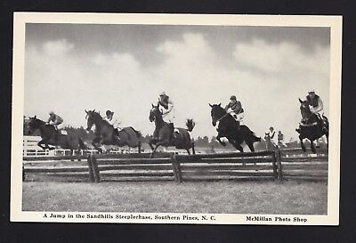 Old Vintage Horse jumping Steeplechase Southern Pines NC Postcard