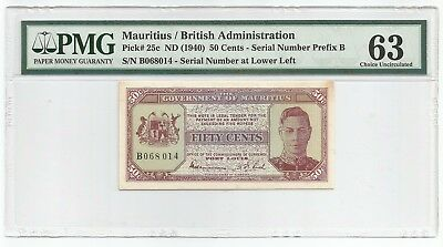 Mauritius 50 Cents ND(1940) P#25c Banknote PMG 63 - Choice Uncirculated