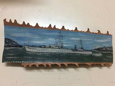 HMAS Perth Passing Sydney Heads RAN Navy Ship, Hand Painted