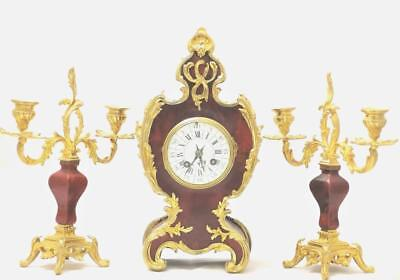 Antique 19thc French S.Marti Gilt ormolu Bronze & Shell Boulle Mantel Clock Set