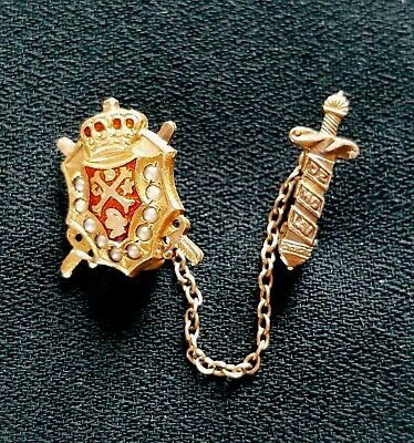 10k Gold DeMolay Pin Pearl Enamel