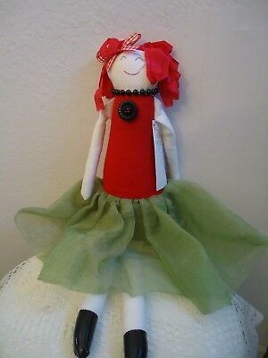 """Woof and Poof: 21"""" Red & Green Xmas Doll Mint With Tag ... XM-304-18"""