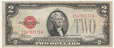 "1928-D $2 ""Red Seal"" Small United States Note *Free S/H After 1st Item*"