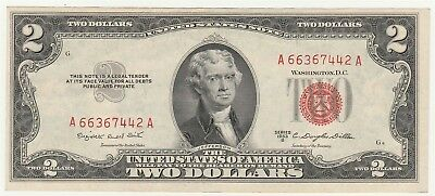 "1953-B $2 ""Red Seal"" Small United States Note ""Crisp New"" *Free S/HAfter 1stItem"