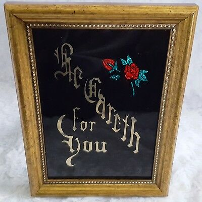 """True Love """"THE EARTH FOR YOU"""" Gift! Reverse Hand-Painted Glass +Foils 8"""" Framed"""