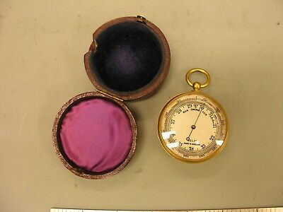 ~ Early 1900s Pocket Barometer Altimeter, Ormolu-Cased, Working VG ~