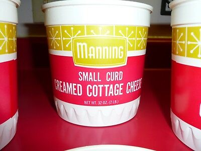 10 Vntg 1970 Manning Creamery Cottage Cheese Tubs Containers Uncirculated Red 2#