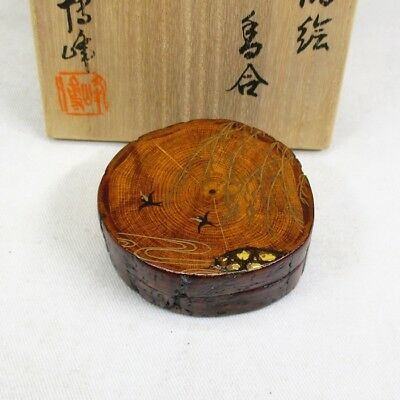 A526 High-class Japanese wooden incense case with great MAKIE by Hakuho Nakatani