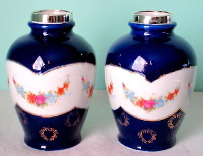 David Loebl Pair of Vases Cobalt Glaze Sterling Silver Mounds Floral Garlands