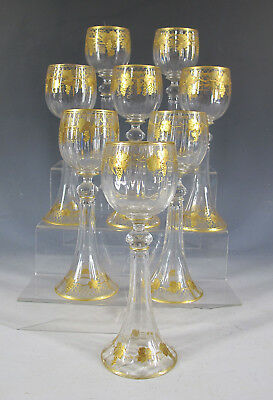 Antique Set of (8) Bohemian Gilt Grape & Lattice Moser Style Wine Glasses NR yqz