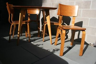 Mid-Century Modern,Thonet maple dining set, 4 maple chairs, maple laminate table