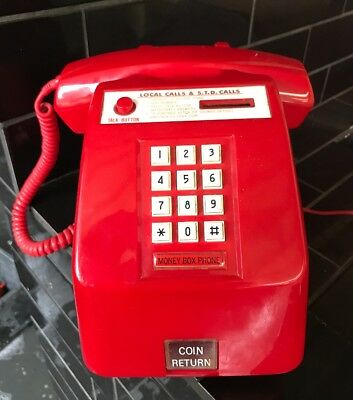 Vintage 1960's Retro Public Red Telecom Coin Operated Telephone Phone