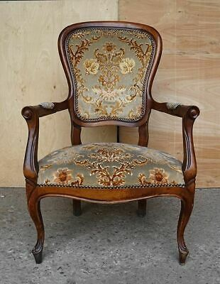 Antique Elegant French Louis XV Style Original Floral Upholstery Walnut Armchair