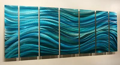Contemporary Modern Abstract Aqua Painted Metal Wall Art - Calm Before the Storm